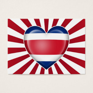 Costa Rican Heart Flag with Sun Rays Business Card
