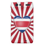 Costa Rican Heart Flag with Sun Rays Droid RAZR Covers