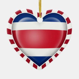 Costa Rican Heart Flag with Sun Rays Christmas Tree Ornament