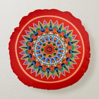 Costa Rican Oxcartwheel Art Round Pillow