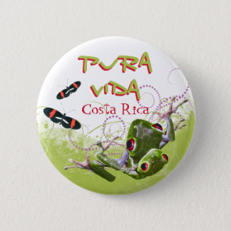 Costa Rican Pura Vida Tree Frog Button