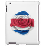 Costa Rican Rose Flag on White