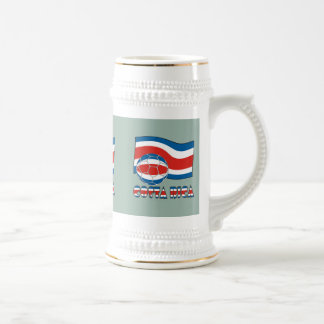 Costa Rican Soccer Ball and Civil Flag Beer Stein