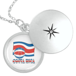 Costa Rican Soccer Ball and Civil Flag Locket Necklace