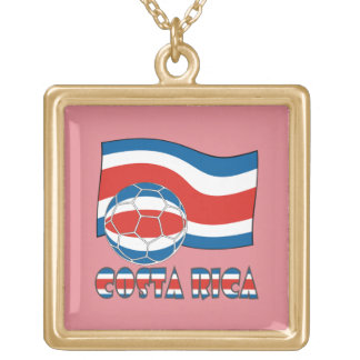 Costa Rican Soccer Ball and Civil Flag Square Pendant Necklace