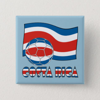 Costa Rican Soccer Ball and Civil Flag Pinback Button