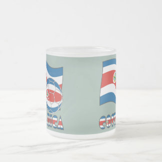 Costa Rican Soccer Ball and State Flag Frosted Glass Coffee Mug
