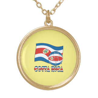 Costa Rican Soccer Ball and State Flag Round Pendant Necklace