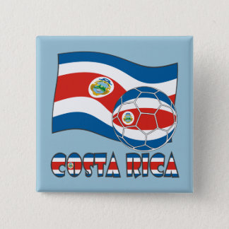 Costa Rican Soccer Ball and State Flag Pinback Button