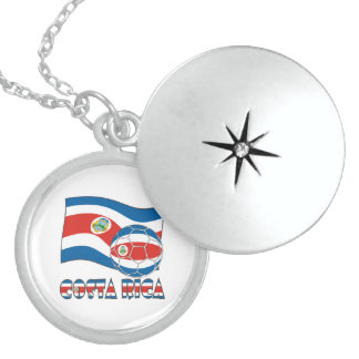 Costa Rican Soccer Ball and State Flag Sterling Silver Necklace