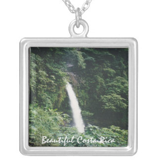 Costa Rican Waterfall - One of Many Square Pendant Necklace
