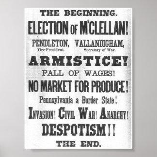 Costado 1864 de la elección póster
