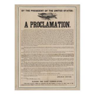 Costado preliminar de la proclamación de la postales