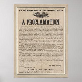 Costado preliminar de la proclamación de la póster