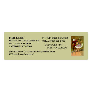 COSTUME BOUTIQUE ~ COSTUME DESIGNER ~BOOKMARK CARD Double-Sided MINI BUSINESS CARDS (Pack OF 20)