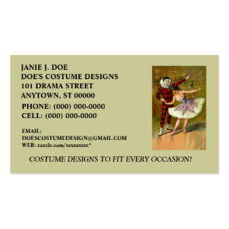 COSTUME BOUTIQUE ~ COSTUME DESIGNER ~BUSINESS CARD Double-Sided STANDARD BUSINESS CARDS (Pack OF 100)