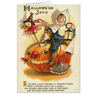 Costume Boy Jack O' Lantern Pumpkin Apple Greeting Card