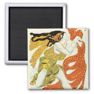 Costume design for a bacchante in 'Narcisse' 2 Inch Square Magnet