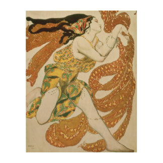 Costume design for a bacchante in 'Narcisse' 2 Wood Wall Art