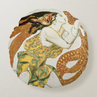 Costume design for a bacchante in 'Narcisse' 3 Round Pillow