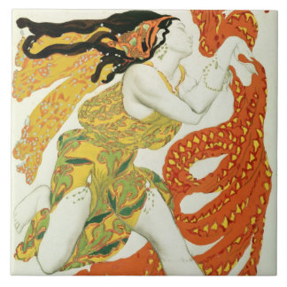 Costume design for a bacchante in 'Narcisse' Ceramic Tile