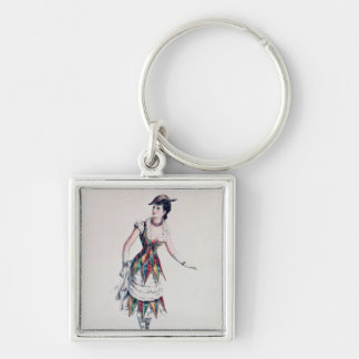 Costume design for a female harlequin, c.1880 keychain