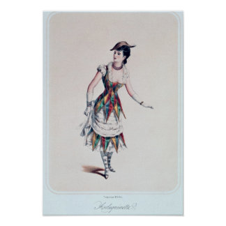 Costume design for a female harlequin, c.1880 posters
