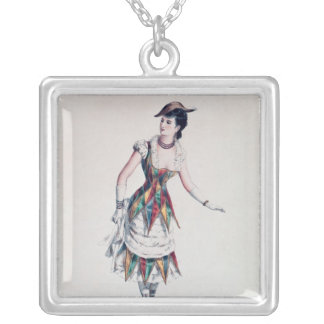 Costume design for a female harlequin, c.1880 silver plated necklace