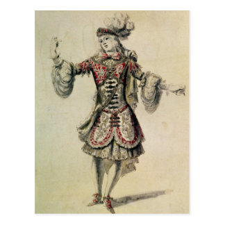 Costume design for a male dancer, c.1681 postcard