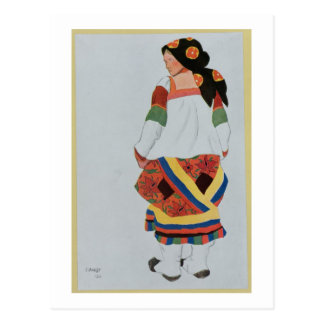 Costume design for a Peasant Girl, 1922 (colour li Postcard