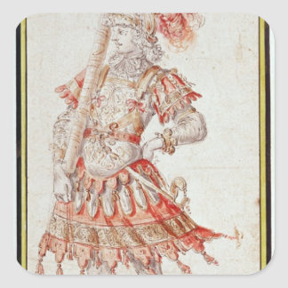 Costume design for Carousel, c.1662 Square Sticker