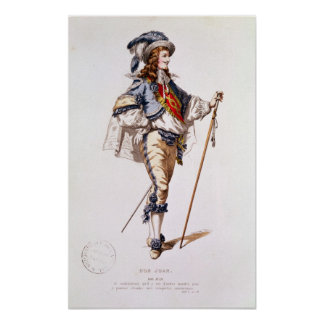Costume design for 'Don Juan' by Moliere Print