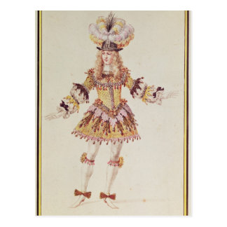 Costume design for male dancer, c.1660 postcard