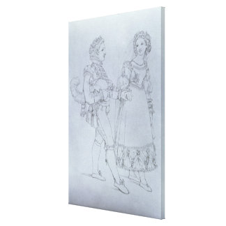 Costume designs Figaro and Susanna from opera Canvas Print