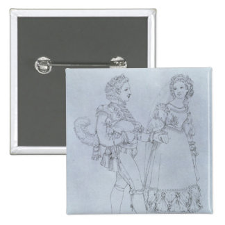 Costume designs Figaro and Susanna from opera Pinback Button