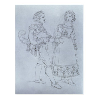 Costume designs Figaro and Susanna from opera Postcard
