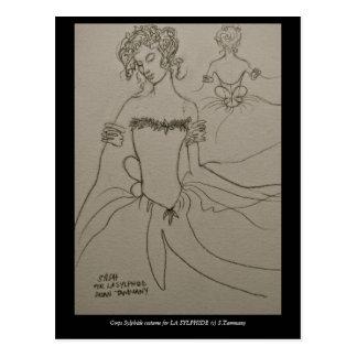 Costume for corps Sylphide in LA SYLPHIDE ballet Postcard
