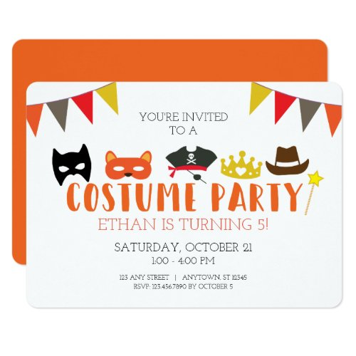Costume Halloween Birthday Party Invitation