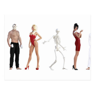 Costume Party for Halloween with Different People Postcard