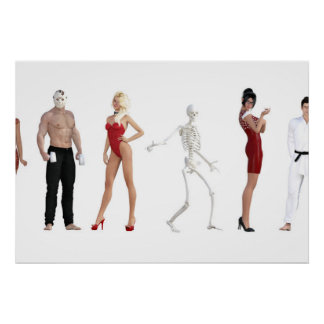 Costume Party for Halloween with Different People Poster