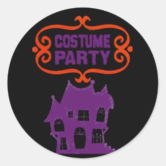 COSTUME PARTY HAUNTED HOUSE INVITE CLASSIC ROUND STICKER