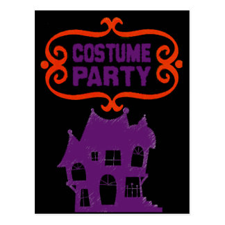 COSTUME PARTY HAUNTED HOUSE INVITE POSTCARD