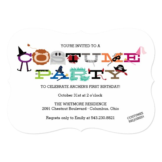 Costume Party Kid's Halloween Party Invitation. Card