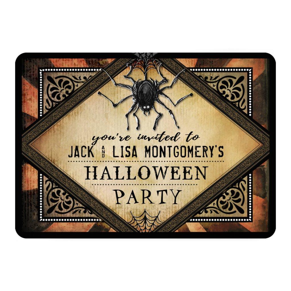 Costume Party Orange & Black Spider Gothic Invite
