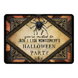 Costume Party Orange & Black Spider Gothic Invite