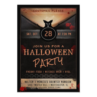 Costume Party Spooky Bat Halloween Party Invite