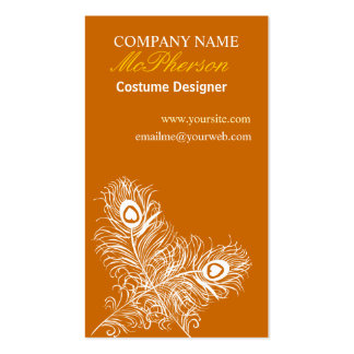 Costume Peacock Feathers Business Cards
