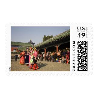 Costumed amateur folk dancers entertain postage