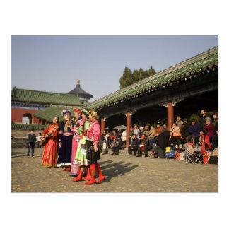 Costumed amateur folk dancers entertain postcards