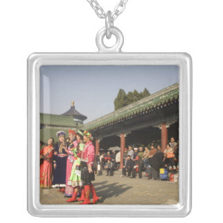 Costumed amateur folk dancers entertain silver plated necklace